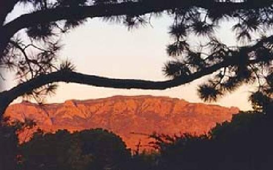 Sandhill Crane Bed and Breakfast: Sandia Mountain sunset from our portal