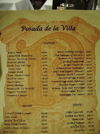 Posada de la Villa: Menu
