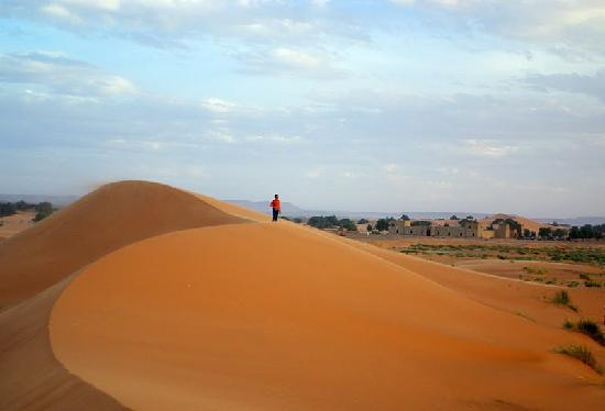 Hotel Nomad Palace: The dunes of Erg Chebbi, with Ali's Nomad Palace in the background.