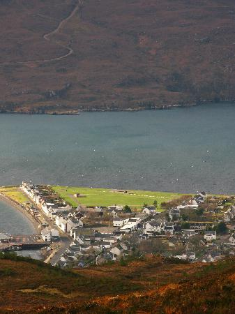 View of Ullapool from surrounding mountain