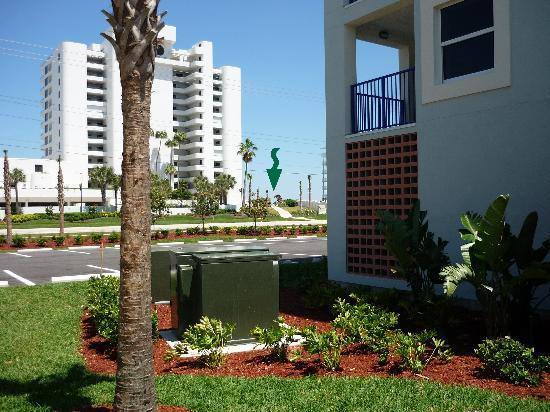 From side of condo nearest the road; beach access arrowed.