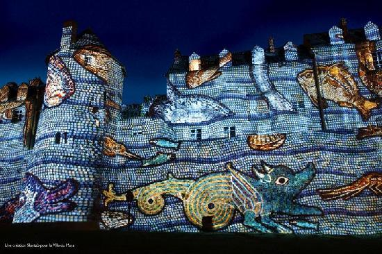 Le Mans, France : colour and shapes explode on the gallo roman wall