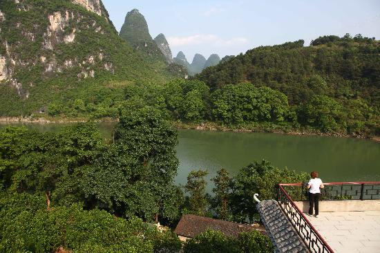 View rom Li River Retreat rooftop terrace.