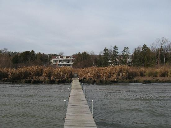 Baileys Harbor, WI: view of both houses from the dock