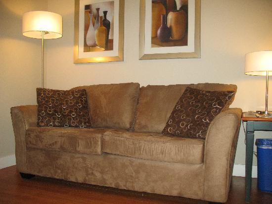 Helm's Inn: Living room has a hide-a-way sofa bed