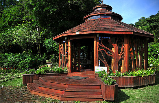 Art House: Part of the gallery and gardens, custom made gazebo, biological corridor