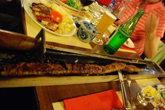 Zeughauskeller : The beef cooked on a sword