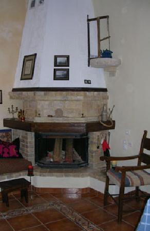 Pension Lena: The wood burning stove at House Minoos.