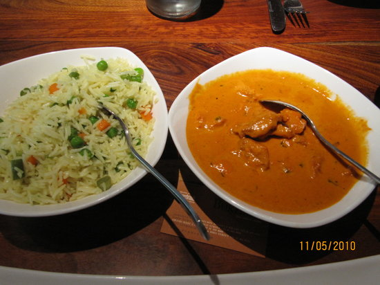 Bukhara CBD Cape Town : Butter Chicken & Vegetable  Rice
