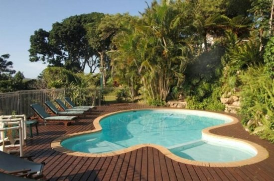 Seasands Lodge and Conference Centre: The Swimming Pool mere meters from the wetlands below - a perfect early morning birding position