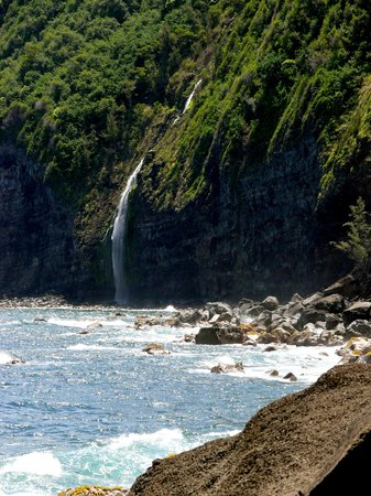 Island of Hawaii, HI: Water fall into the sea