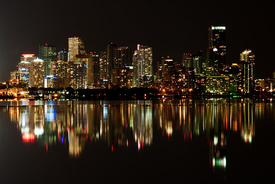 The Miami Skyline can be viewed from across the bay under clear skies.