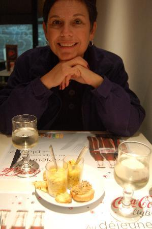 Le Pavillon : My bride of 35 years getting ready to test the food...