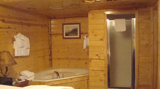 Big Bear Frontier: JACUZZI AND SHOWER IN YOUR BEDROOM NOT SEPARATED