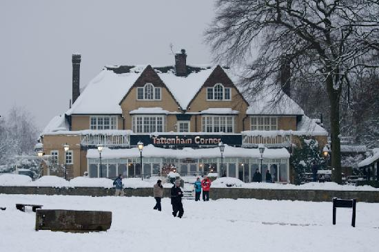 Epsom, UK: Tattenham Corner Pub in the snow