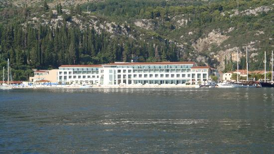Hotel Admiral and the bay of Slano from the sea