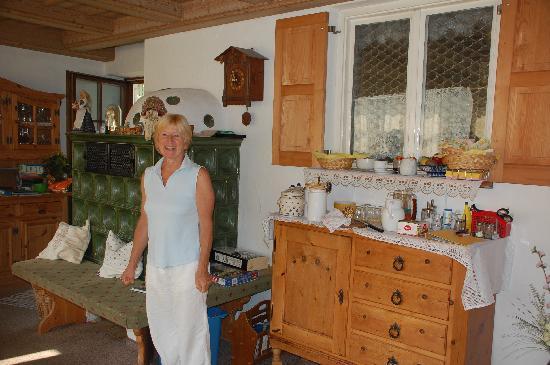 Pension Haus Ursula: Hostess in Breakfast room
