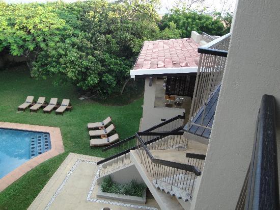 Teremok Marine: view from balcony onto pool