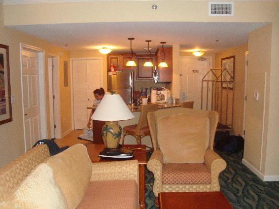 Westgate Myrtle Beach Oceanfront Resort: living room of two bed room condo, looking into the kitchen