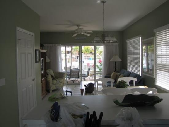 Hawks Cay Resort Harbor Villa Living Room Looking Out From Kitchen