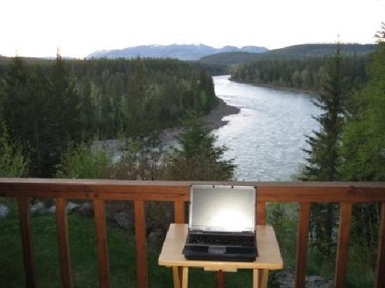 Glacier Park Inn Bed and Breakfast: my laptop, their view