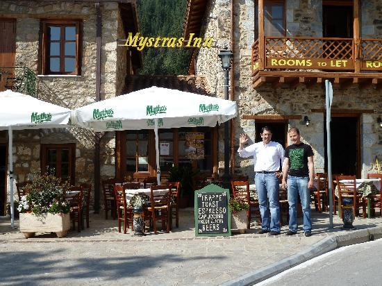 Mystras, Grecia: Yiannis & Thanasis in front of their Inn