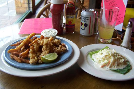 """Conch Fritters Bar and Grill: Cracked Conch """"appetizer"""" with a side of slaw"""