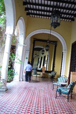The Villa Merida: view of the hallway from the main courtyars