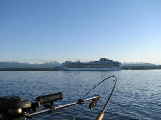 Fishing out front of Campbell River with a cruise ship going by.