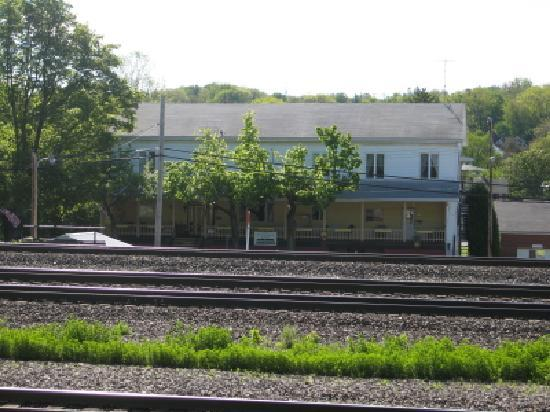 A view of the Station Inn from across the tracks