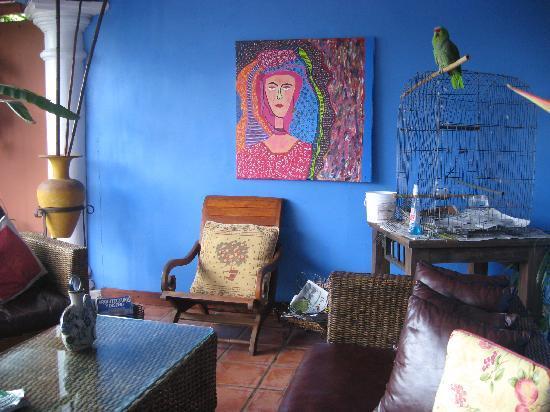 Casa Bella Rita Boutique Bed & Breakfast: Notice Loda the parrot in corner