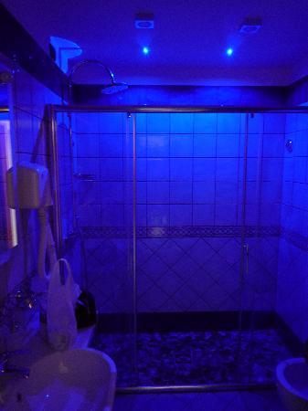 Floridiana Hotel: Bagno con doccia a luce del bagno spenta