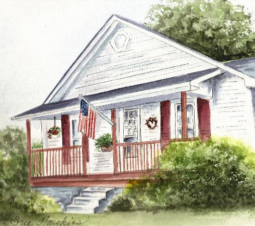 Wolf Creek Farm B & B: Watercolor of Wolf Creek Farm by Sue Hawkins, Biloxi, MS