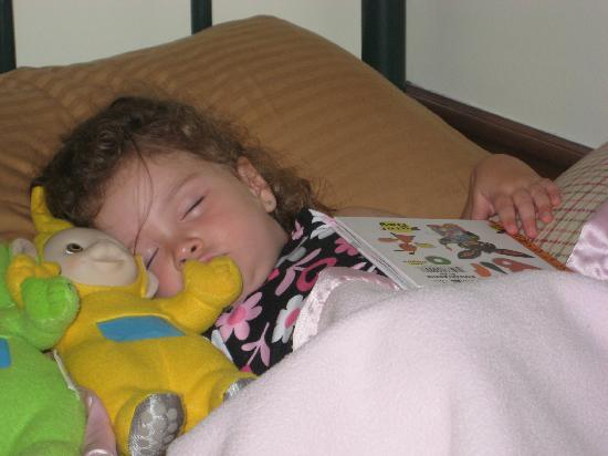 Wolf Creek Farm B & B: Alexis sound asleep in No Place Like Home Room