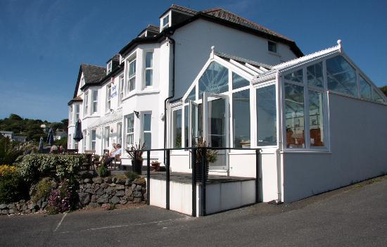 Coverack, UK: The Bay Hotel, showing the dining conservatory.