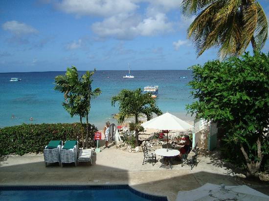 Holetown, Barbados: View of pool area and beach in morning
