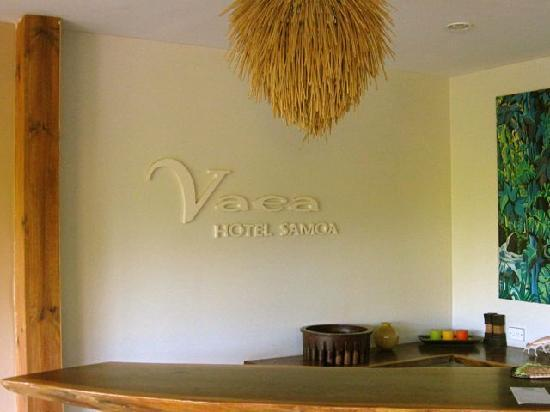 Vaea Hotel Samoa: Outdoor reception desk sign