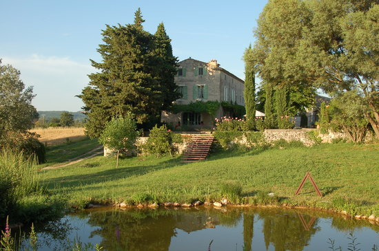 Uzès, France : The Mas looking up from the ponds in the lower garden