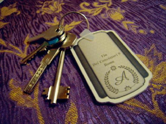 Althea Inn : ゲートの鍵、B&B入り口の鍵、部屋の鍵、セキュリティBOXの鍵。この他にバスルームの鍵がある。