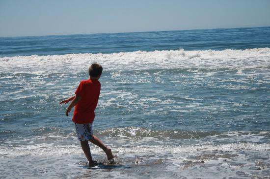 Ocean Mesa Campground at El Capitan: My son trying to skip rocks into the ocean.