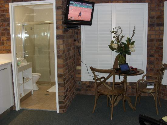 Ballina Palms Boutique Motel: Telly, table and fake flowers