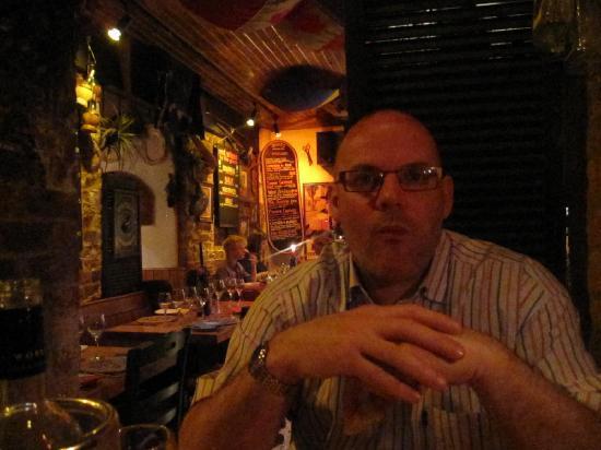 Delrio's Restaurant : my husband enjoying his birthday dinner
