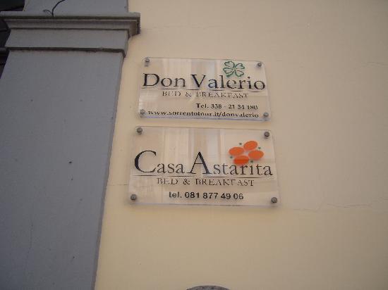 Don Valerio B&B: sign outside the B&B