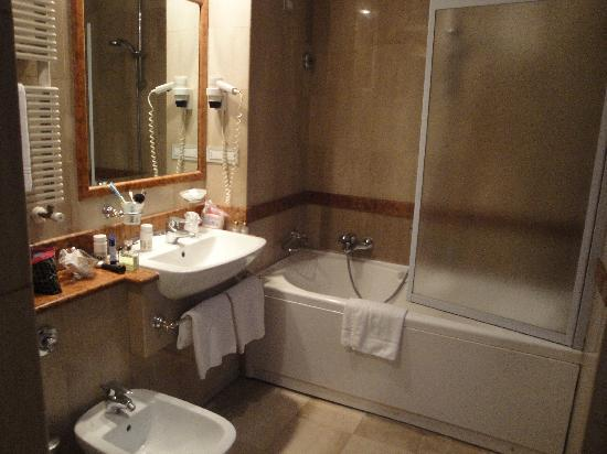 Hotel Ludovisi Palace: the bathroom - tub/shower combo with an unusually high tub edge