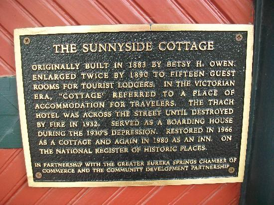 Sunnyside Inn Bed and Breakfast: historical information about house