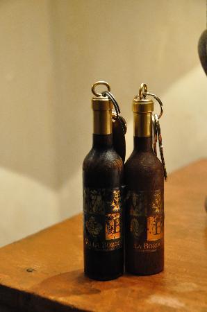 Villa Bordoni: Room Keys on Lovely Wine Wooden  Wine Bottles