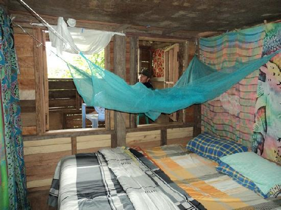 Tanna Tree Top Lodge: the bedroom in the top tree house