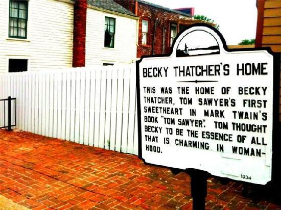 Hannibal, MO: Becky Thatcher's House(sign)