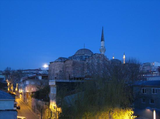 Balat Suites : Moonset over Rose Mosque from Bedroom