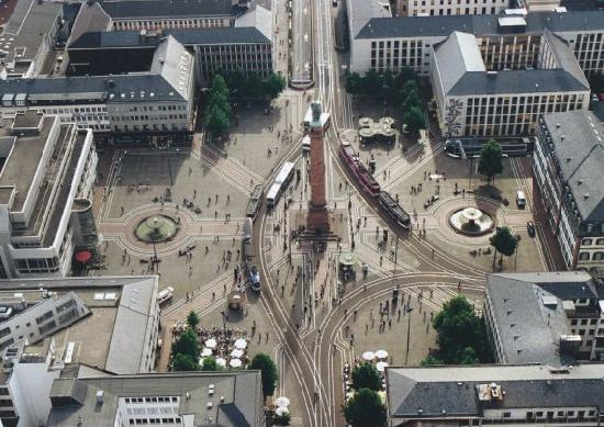 Darmstadt, Alemania: der Lusienplatz aus der Vogel-Perspektive